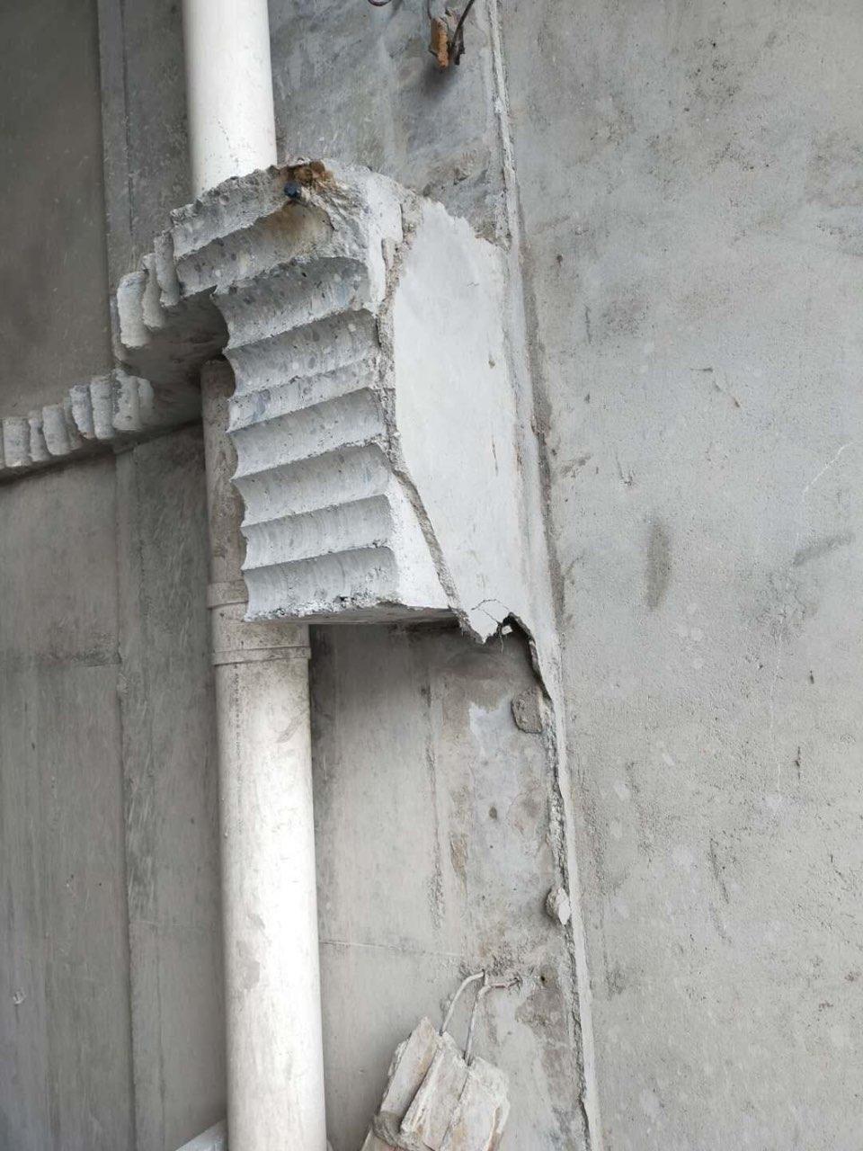 七里华胥路万鑫国际房子从一楼到顶楼全部开裂